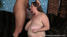 Pale-skinned Whale Gets Her Hammy Tits Around A Dick For A Russian