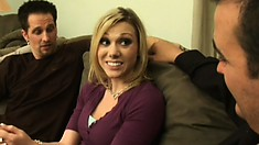 Kinky blonde tramp gets her inked up ass pounded in a threesome