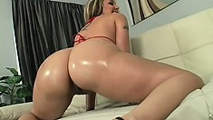 Ravishing hot stuff Delilah oils her butt and gets fucked by gangsta