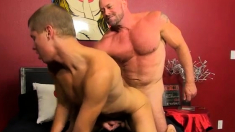 Twink abdominal massage and gay sex rubber pants Blade is