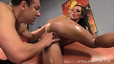 Exciting brunette with a heavenly ass bounces on a stiff prick with great desire