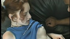 Dirty schoolgirl gets her pierced pussy stuffed with a big piece of dark meat