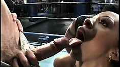 Ebony boxing bunny performs a circle jerk and hot fuck in the center ring