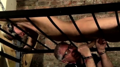 Blonde twinks bondage and skinny gay squirt Draining A