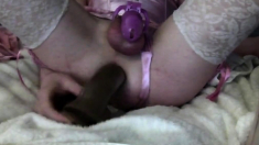 Young White Sissy Pink Chastity & Lingerie Rides BBC Dildo