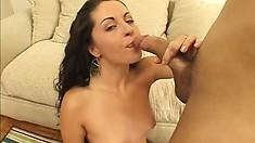 Lusty brunette moans while taking a bulging boner deep inside her cunt