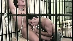 Spunk swapping gay convicts make a mess fucking in the prison cell