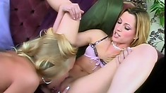 Blonde lesbian babe licks her lover's snatch until she squeals with pleasure