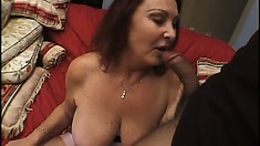 Mature bitch with super big tits intensifies this nasty fucking