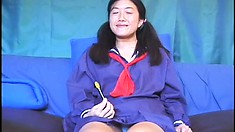 18 year old Asian school girl gets torn up by a huge schlong
