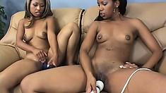 Ebony lesbians Fetish and Strokahontas try their new dildos and enjoy pure pleasure