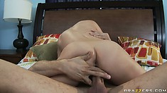 This blonde MILF is a naughty girl as she rides his cock and he fingers her ass