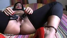 Hot brunette babe goes through an intense ass-stretching course