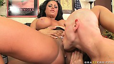 Busty brunette MILF has impressive cleavage and a wet pussy in need