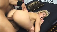 Sweet blonde babe goes black and gets stretched wide and eats his cum