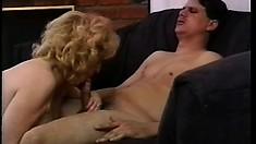 Appealing old slut in sexy underwear fucks horny young fellow