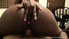 Gorgeous black hooker takes a POV ride on a big white schlong
