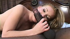 Striking blonde college girl has a hung black stud hammering her holes