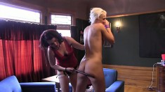 Sadie Lune uses a strap-on toy to fill Dylan Ryan's wet twat