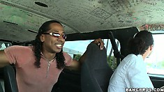 Two guys in a van hit the streets searching for hot babes eager to have fun