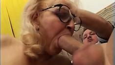 Naughty older lady talks a hung young stud into some rough fun