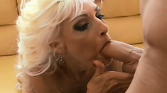 Big breasted mature blonde has two young guys fulfilling her desires