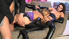 Two kinky girls seduce a hot stud to pound their needy holes with his long cock