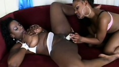 Fine as hell black bitches make each other moan sweetly on the couch