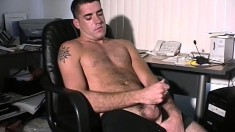 Hairy stud Matt turns on his webcam to show how he jerks off and cums