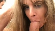 Horny cock starved MILF needs a dick crammed in every orifice