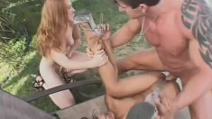 Summer and Lyla get their sweet pussies drilled by Lee Stone outside