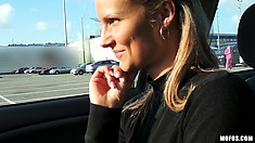 Euro blonde Holly is happy to get a ride but, having sex for money?