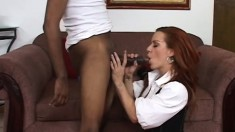 Sex addicted redhead whore wants to devour this big black cock