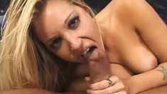 Wild blonde college babe with a magnificent ass loves to suck and fuck